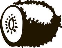 Kiwi fruit silhouette isolated on white background vector illustration. royalty free illustration