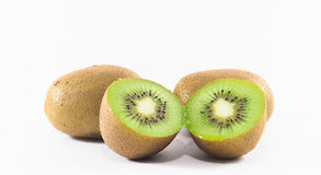 Kiwi isolated picture with white background shown cut section. There are 3 kiwis in picture Royalty Free Stock Photography