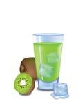 Kiwi Juice. Illustrated glass of kiwi juice on white background Royalty Free Stock Image