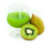 Kiwi juice. On white background Royalty Free Stock Photo