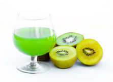 Kiwi juice. On white background Royalty Free Stock Images