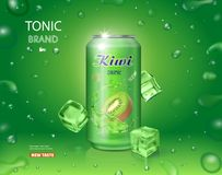 Kiwi juice in an aluminium can. . Sweet kiwifruit tonic advertising. 3d realistic package design.  Stock Photo