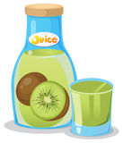 Kiwi juice in the bottle Royalty Free Stock Photo