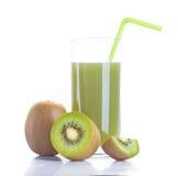 Kiwi juice and fruit. On white background stock photos