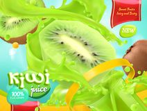 Kiwi Juice Fruits doux vecteur 3d illustration de vecteur