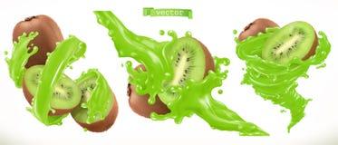 Kiwi Juice Icône de vecteur du fruit frais 3d illustration libre de droits