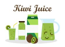 Kiwi juice with pack template packaging design Stock Image