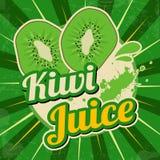 Kiwi juice retro poster Stock Photography