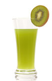 Kiwi juice and sliced kiwi on white background Stock Photo