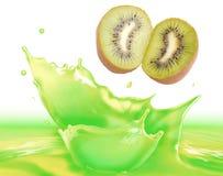 Kiwi juice splash Stock Photography