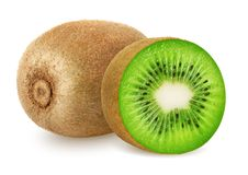 Kiwi fruit . Kiwi . Kiwi fruit and sliced kiwi isolated on white background. Clipping path included royalty free stock photos