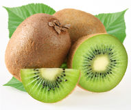 Kiwi with leaves Stock Photography