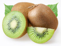 Kiwi with leaves Royalty Free Stock Photo