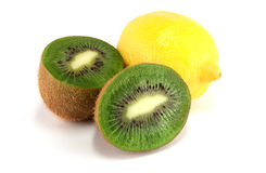 Kiwi and lemon. Isolated on white background Stock Images