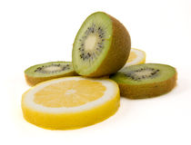 kiwi and a lemon Royalty Free Stock Images