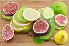 Kiwi, lemon, fig Royalty Free Stock Photography