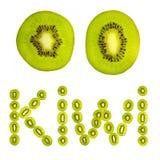 Kiwi letters from kiwi fruit Stock Photo