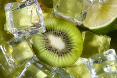 Kiwi and lime with ice Stock Photos
