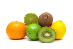 Kiwi, lime, lemon and tangerine isolated on white background Royalty Free Stock Image