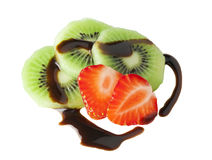 Kiwi loves strawberry Stock Photography