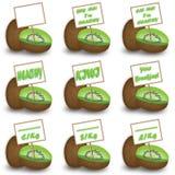 Kiwi med etiketten Arkivbilder