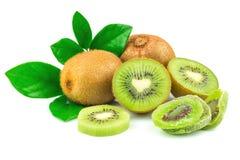 Kiwi met gekonfijte vrucht en bladeren stock afbeeldingen