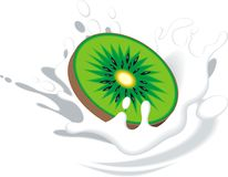 Kiwi in the milk Stock Photography