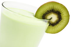 Kiwi milkshake with a blade of kiwifruit Royalty Free Stock Photos