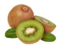 Kiwi and mint isolated Stock Image