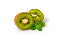 Kiwi with mint leaves Royalty Free Stock Photo
