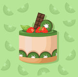 Kiwi mousse delicious cake. Sweet dessert cherry blackberry flavors Vector illustration Stock Images