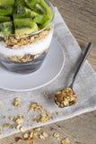 Kiwi och granola med yoghurt royaltyfri fotografi