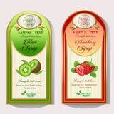 Kiwi- och jordgubbesirapetikett Arkivbild