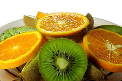 Kiwi and orange. Kiwi and orange is cut in circles Royalty Free Stock Photos