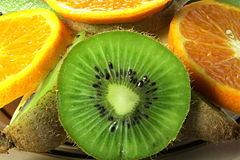Kiwi and orange. Kiwi and orange is cut in circles Stock Photo