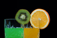 Kiwi orange drink Stock Photos