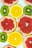 Kiwi, orange, grapefruit thinly sliced Stock Image
