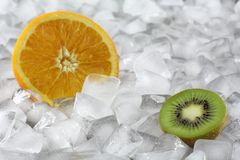 Kiwi and orange on ice Royalty Free Stock Photos