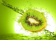 Kiwi and orange wet Stock Photo