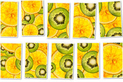 Kiwi oranges mix colorful sliced fruits  background collage Royalty Free Stock Image