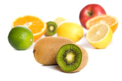 Kiwi with other tropical and citrus fruit Stock Photos