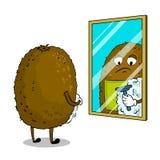 Kiwi owoc goli wystrzał sztuki wektoru ilustrację Zdjęcie Stock