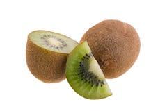 Kiwi owoc i kiwi pokrajać odosobnionego na białym tle Obraz Stock