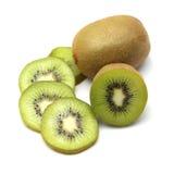 Kiwi owoc i kiwi pokrajać segmenty na białym tle Obraz Royalty Free