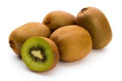 Kiwi owoc i pokrajać odosobniony na białym tle Zdjęcie Stock