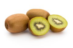 Kiwi owoc i pokrajać odosobniony na białym tle Obraz Royalty Free