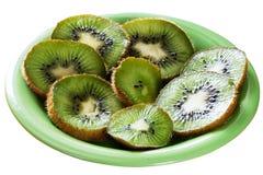 Kiwi owoc plasterki na talerzu Zdjęcie Royalty Free
