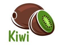 Kiwi owoc z zielonym soczystym plasterkiem Zdjęcia Royalty Free