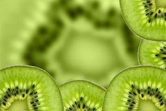 Kiwi owoc, Zamyka w górę pokrojonego kiwi abstrakcjonistycznego tła, Makro- widok Zdjęcie Stock