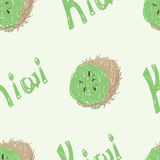 Kiwi Pattern. A seamless pattern of a sketched kiwi fruit and the word kiwi Stock Illustration